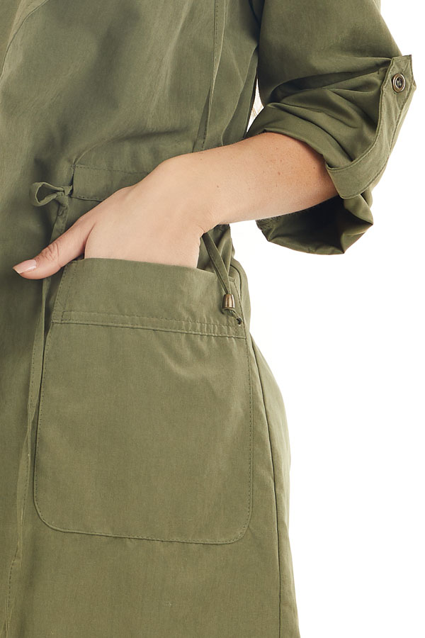 Olive Lightweight Hooded Jacket with Cinch Waist Detail detail