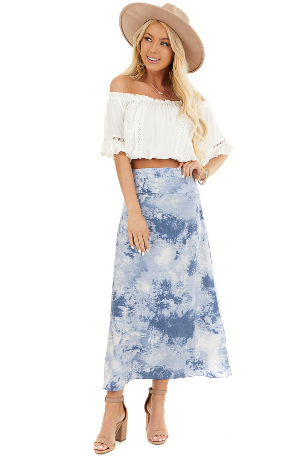 Dusty Blue Tie Dye High Rise Midi Skirt with Rounded Hemline front full body