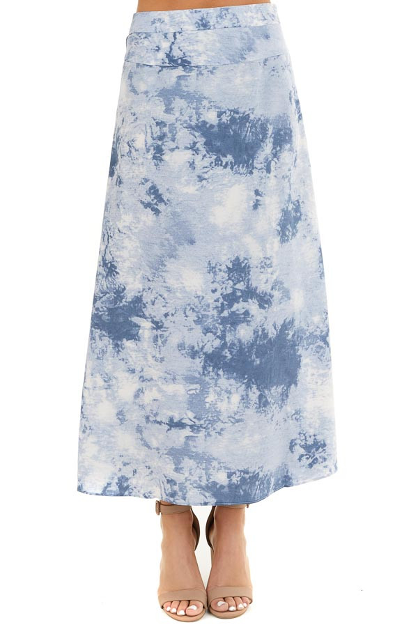 Dusty Blue Tie Dye High Rise Midi Skirt with Rounded Hemline front view