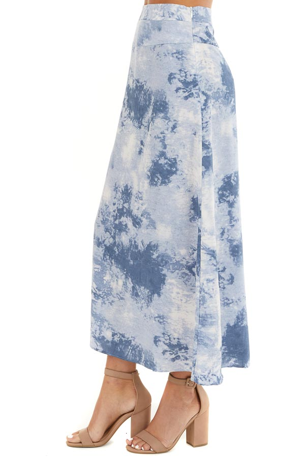 Dusty Blue Tie Dye High Rise Midi Skirt with Rounded Hemline side view