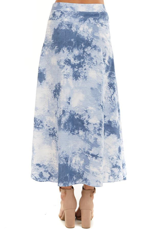 Dusty Blue Tie Dye High Rise Midi Skirt with Rounded Hemline back view