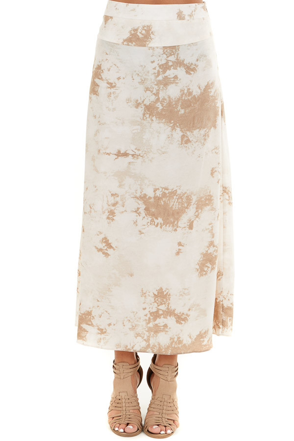 Taupe Tie Dye High Rise Midi Skirt with Rounded Hemline front view