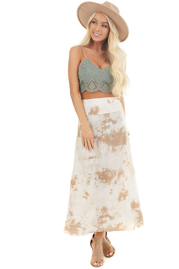 Taupe Tie Dye High Rise Midi Skirt with Rounded Hemline front full body