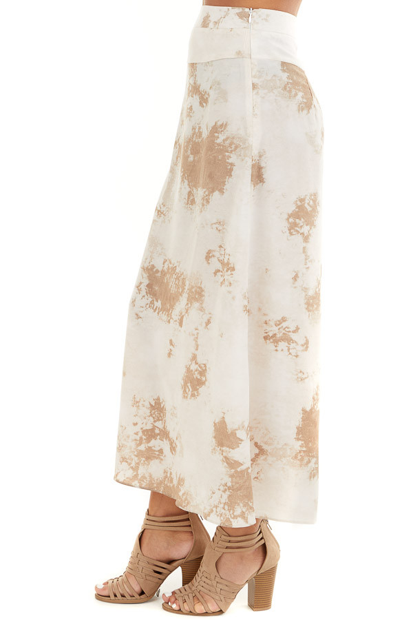 Taupe Tie Dye High Rise Midi Skirt with Rounded Hemline side view