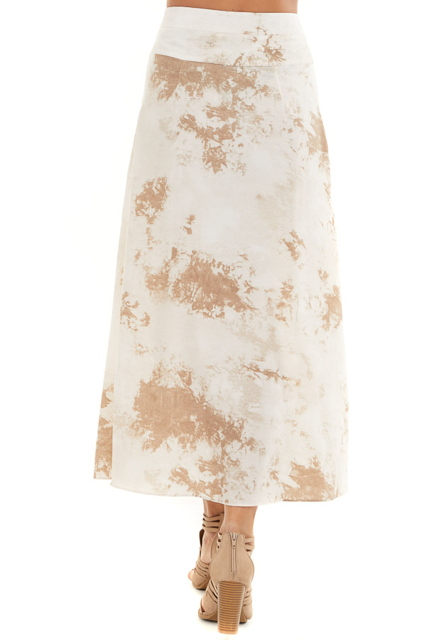 Taupe Tie Dye High Rise Midi Skirt with Rounded Hemline back view
