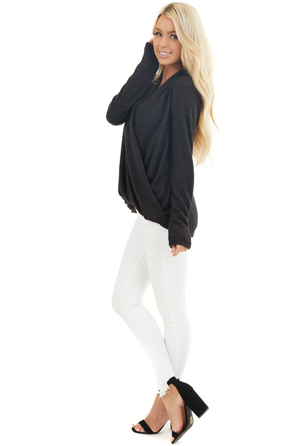 Black Surplice Cashmere Brushed Long Sleeve Knit Top side full body