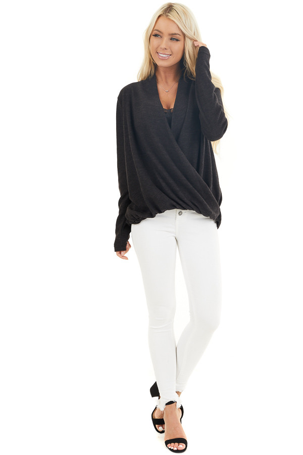 Black Surplice Cashmere Brushed Long Sleeve Knit Top front full body