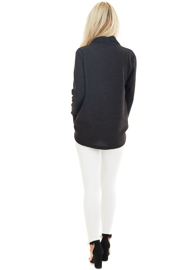 Black Surplice Cashmere Brushed Long Sleeve Knit Top back full body