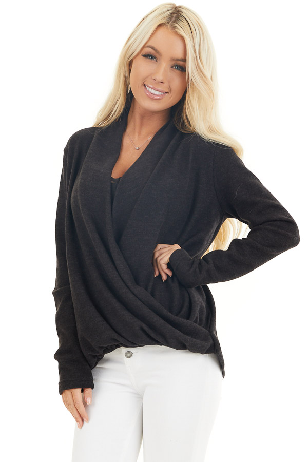 Black Surplice Cashmere Brushed Long Sleeve Knit Top front close up