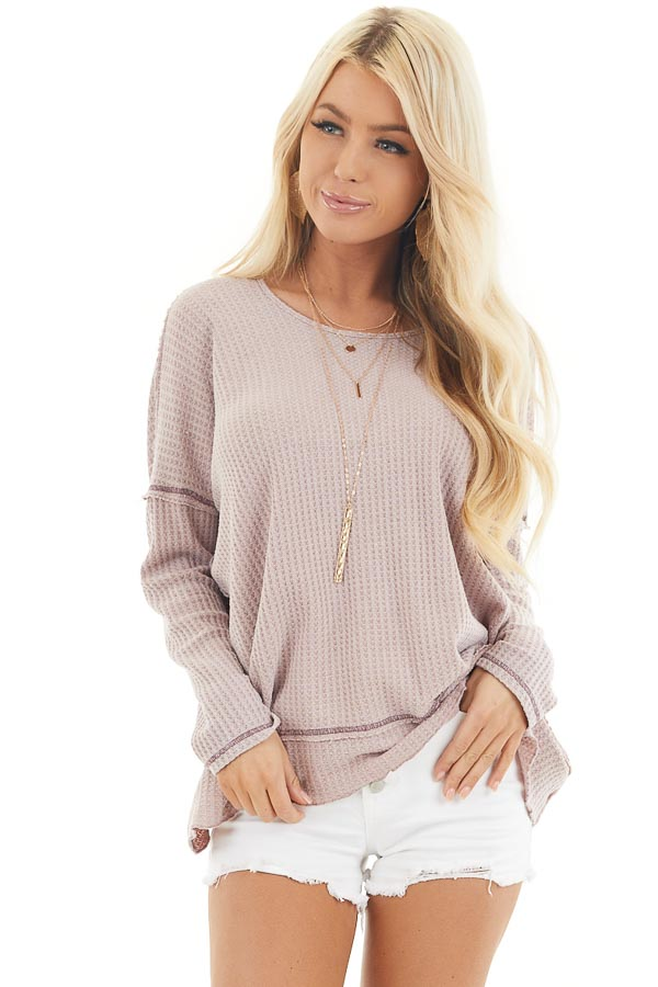 Dusty Blush Waffle Knit Top with Open Twisted Back Detail front close up