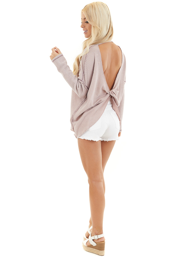 Dusty Blush Waffle Knit Top with Open Twisted Back Detail side full body