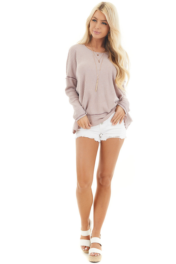 Dusty Blush Waffle Knit Top with Open Twisted Back Detail front full body