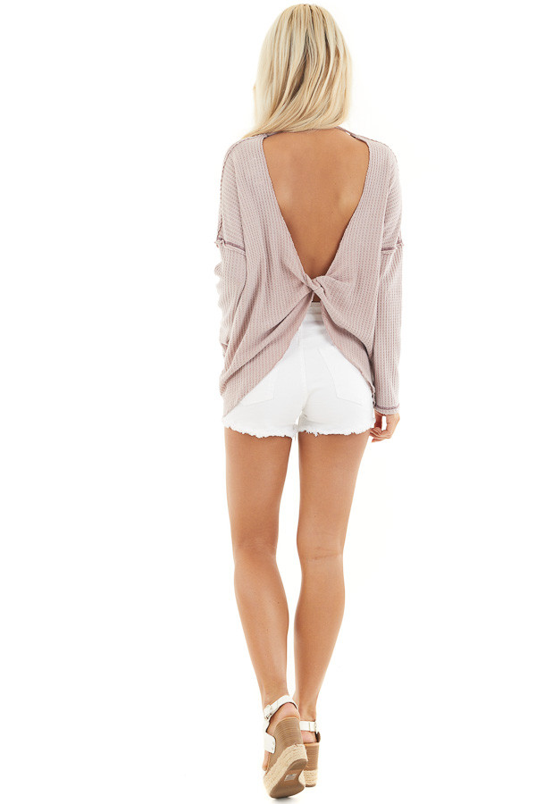 Dusty Blush Waffle Knit Top with Open Twisted Back Detail back full body