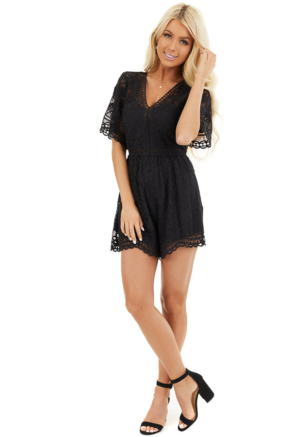 Black Lace Romper with Back Keyhole and Scalloped Detail front full body