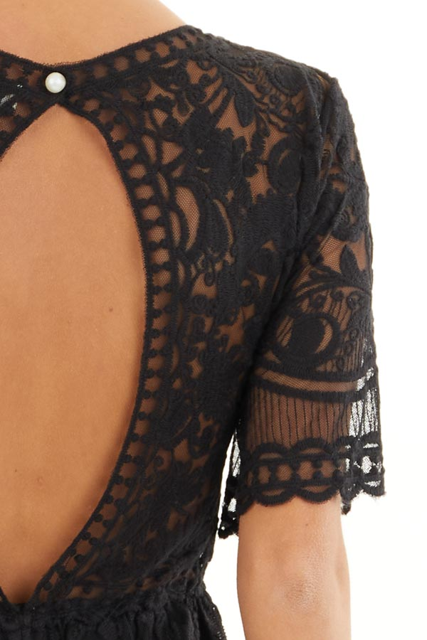 Black Lace Romper with Back Keyhole and Scalloped Detail detail