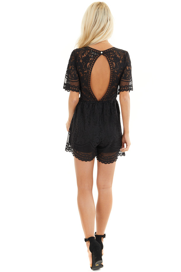 Black Lace Romper with Back Keyhole and Scalloped Detail back full body