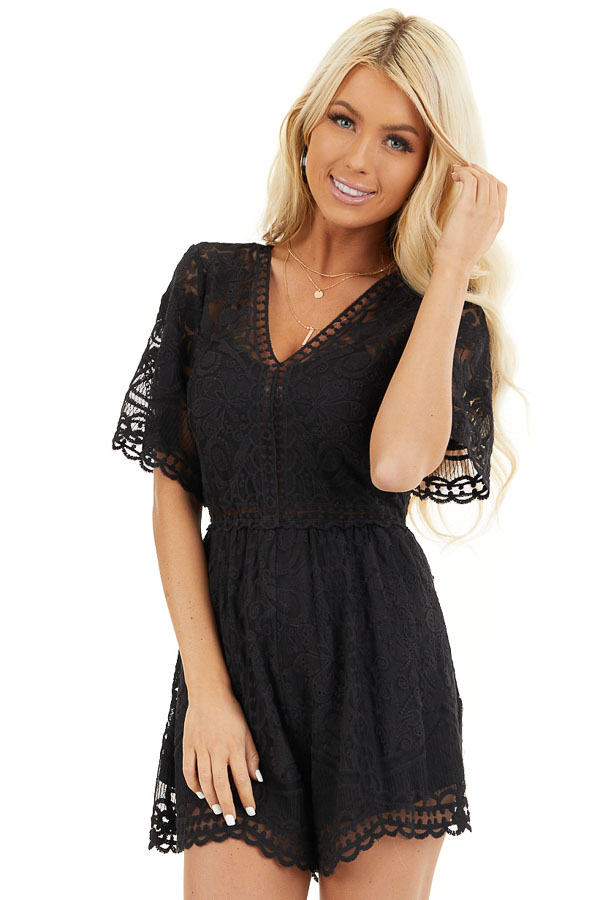 Black Lace Romper with Back Keyhole and Scalloped Detail front close up