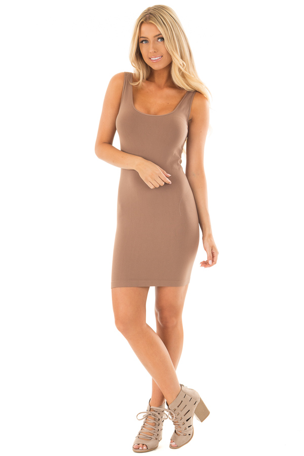 Taupe Seamless Tank Dress Undergarment front full body