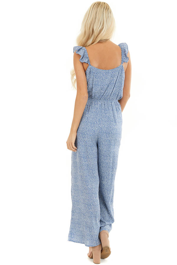 Dusty Blue Surplice Sleeveless Jumpsuit with Ruffle Detail back full body