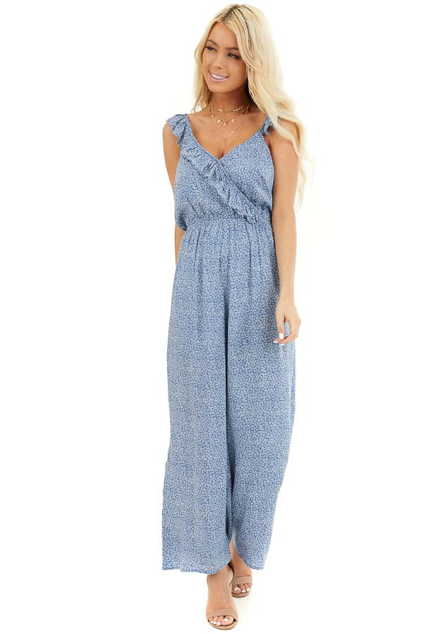 Dusty Blue Surplice Sleeveless Jumpsuit with Ruffle Detail front full body
