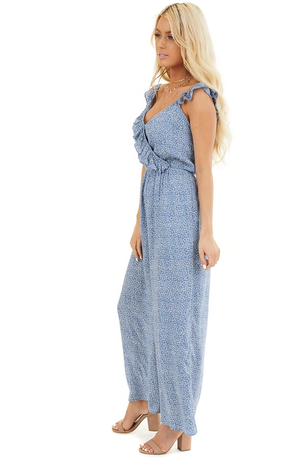 Dusty Blue Surplice Sleeveless Jumpsuit with Ruffle Detail side full body