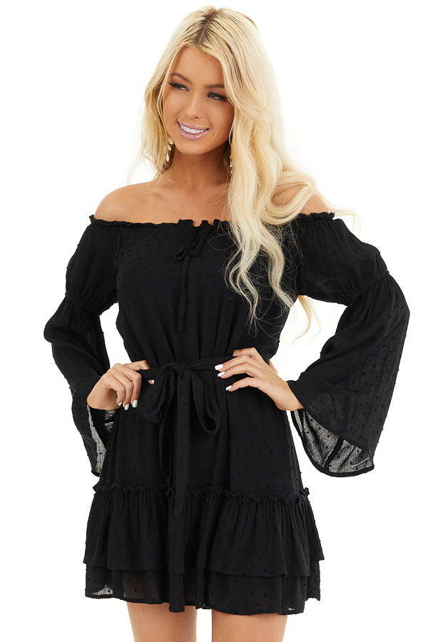 Black Off the Shoulder Swiss Dot Ruffled Mini Dress front close up
