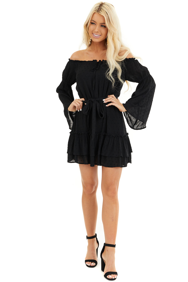 Black Off the Shoulder Swiss Dot Ruffled Mini Dress front full body