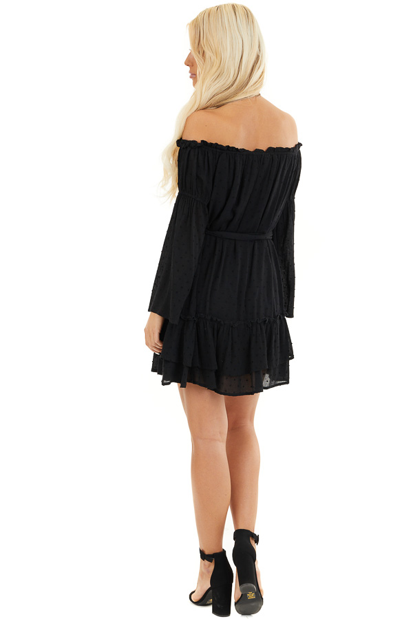 Black Off the Shoulder Swiss Dot Ruffled Mini Dress back full body