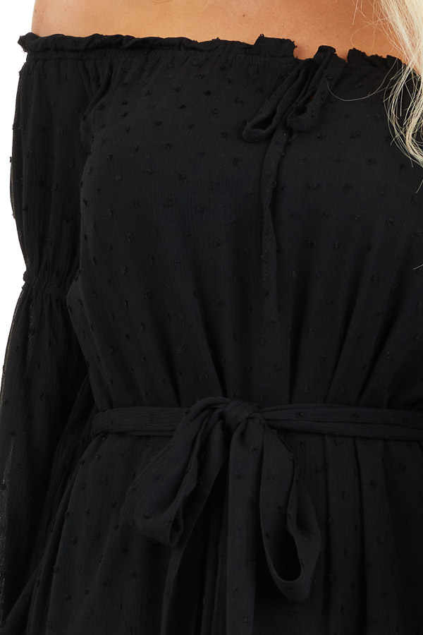 Black Off the Shoulder Swiss Dot Ruffled Mini Dress detail