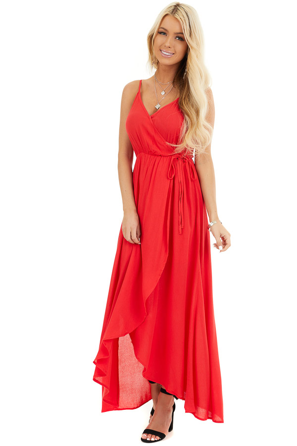 Lipstick Red Surplice Maxi Dress with Spaghetti Straps front full body
