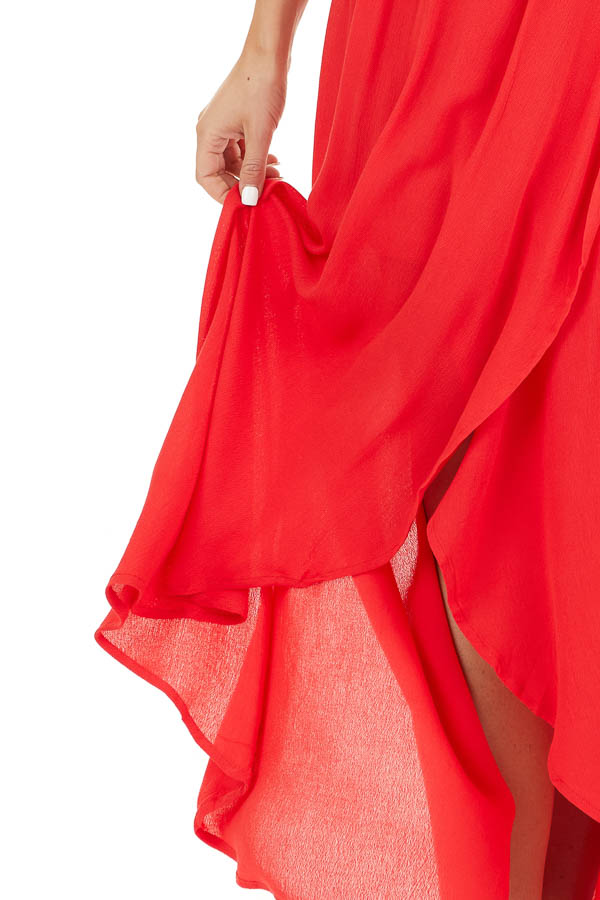 Lipstick Red Surplice Maxi Dress with Spaghetti Straps detail