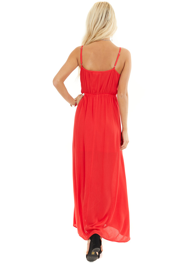 Lipstick Red Surplice Maxi Dress with Spaghetti Straps back full body