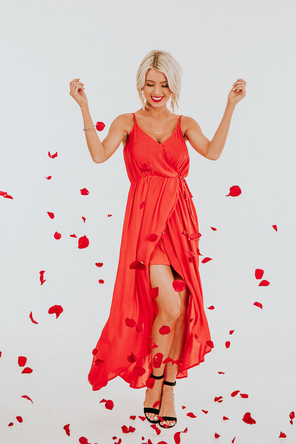 Lipstick Red Surplice Maxi Dress with Spaghetti Straps