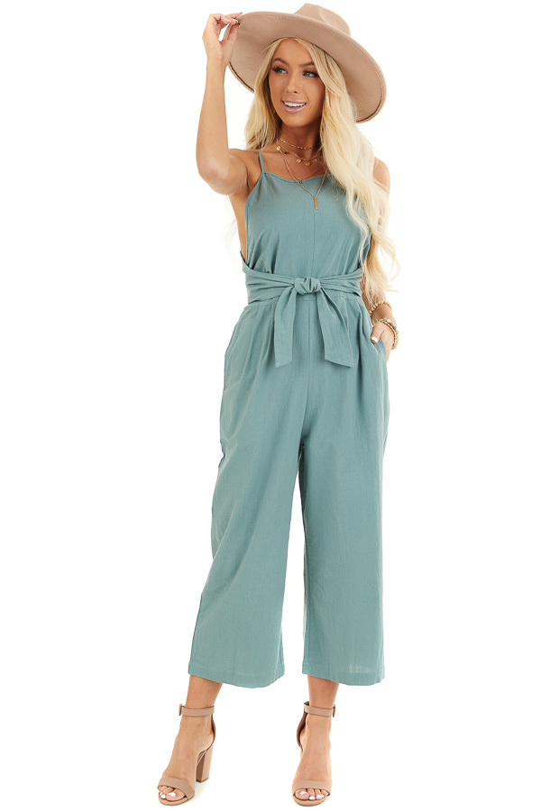 Sage Green Wide Leg Capri Length Jumpsuit with Waist Tie front full body