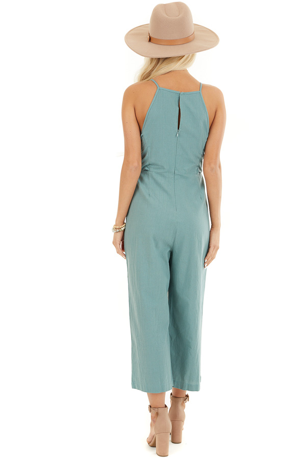 Sage Green Wide Leg Capri Length Jumpsuit with Waist Tie back full body