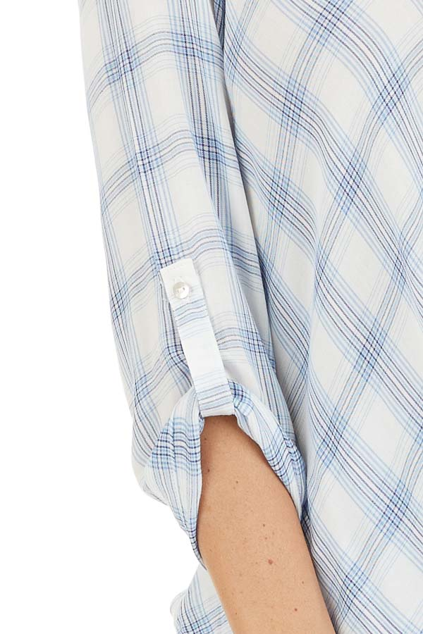 Sky Blue Plaid Surplice V Neck Top with High Low Hemline detail