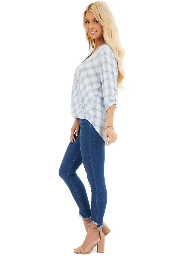 Sky Blue Plaid Surplice V Neck Top with High Low Hemline side full body