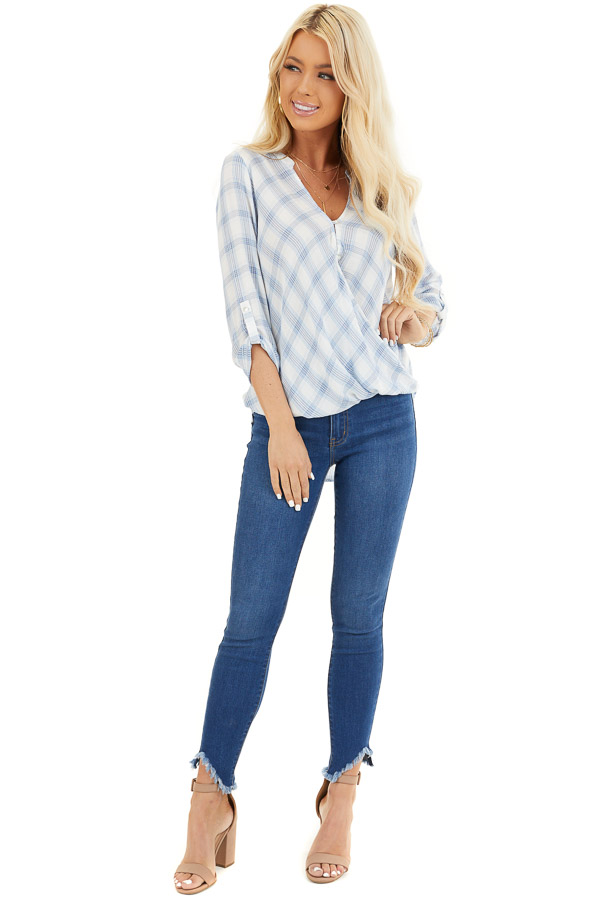 Sky Blue Plaid Surplice V Neck Top with High Low Hemline front full body