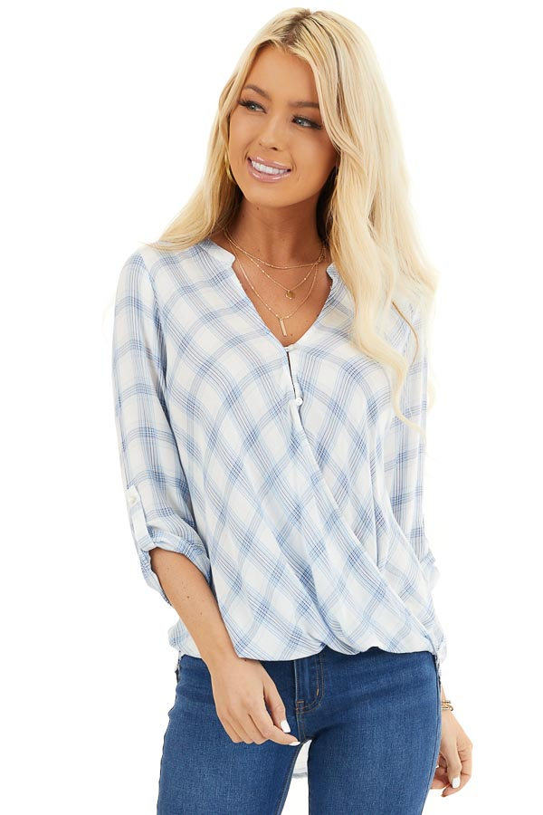 Sky Blue Plaid Surplice V Neck Top with High Low Hemline front close up