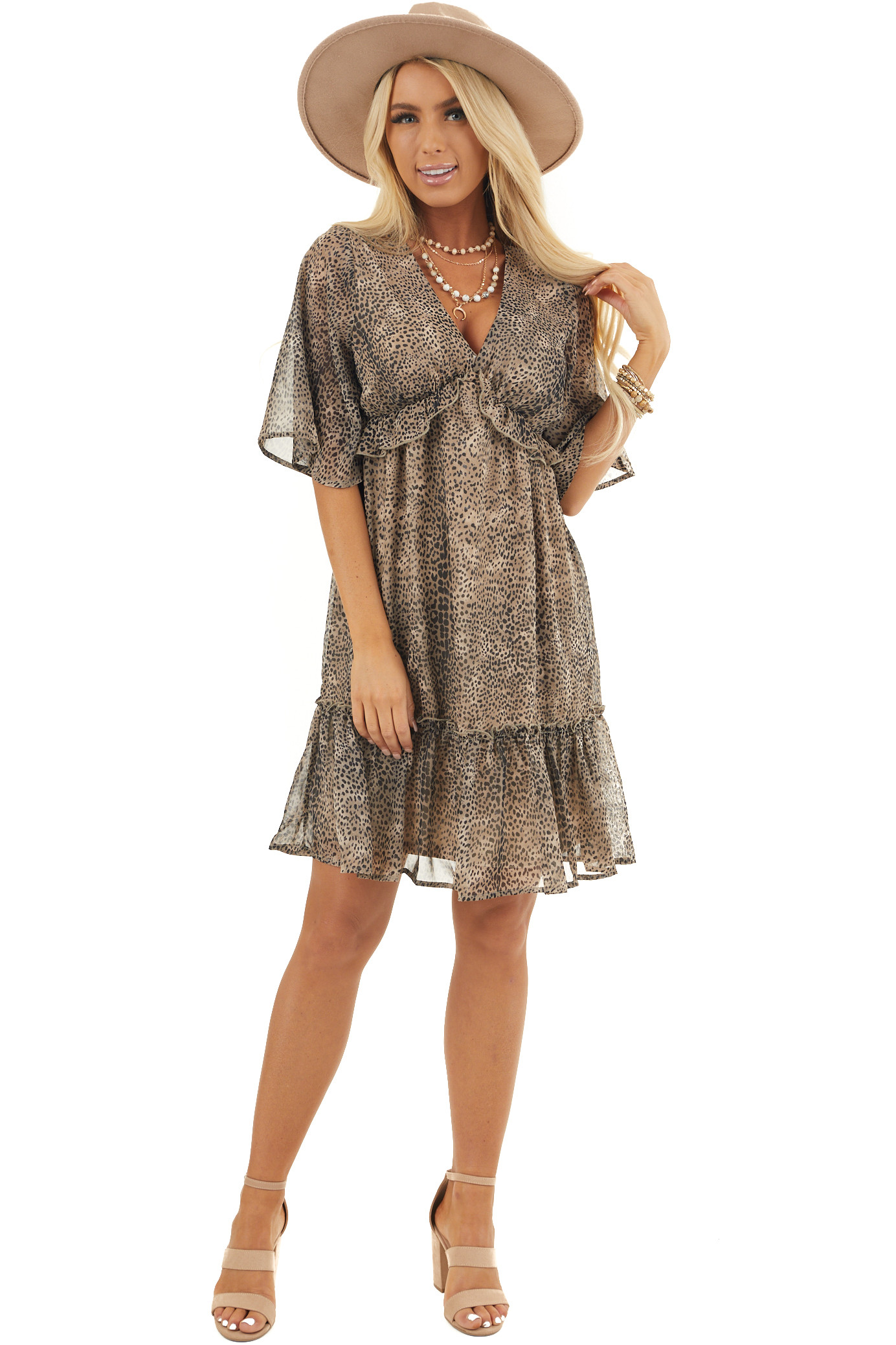 Taupe Cheetah Print Short Sleeve Dress with Ruffle Details