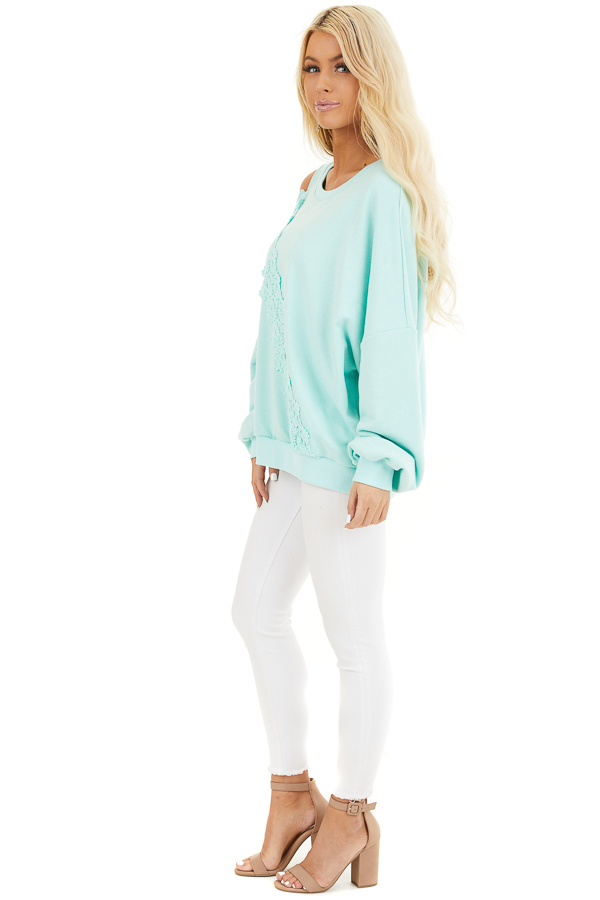 Turquoise Cold Shoulder Knit Top with Lace Crochet Details side full body