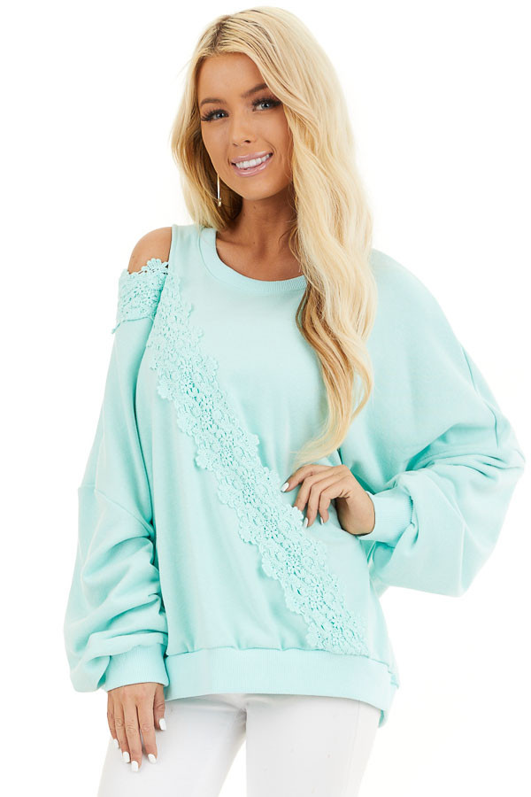 Turquoise Cold Shoulder Knit Top with Lace Crochet Details front close up