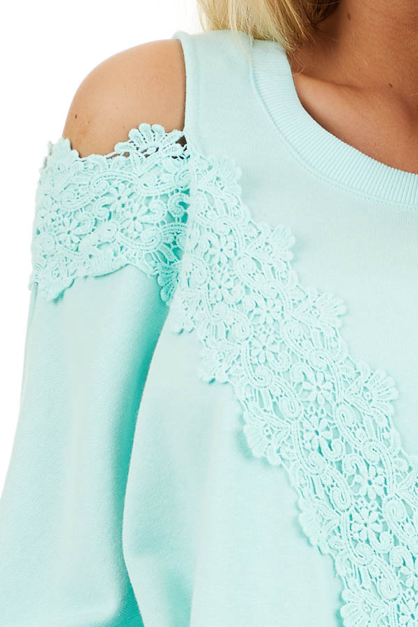Turquoise Cold Shoulder Knit Top with Lace Crochet Details detail