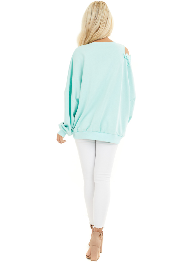 Turquoise Cold Shoulder Knit Top with Lace Crochet Details back full body