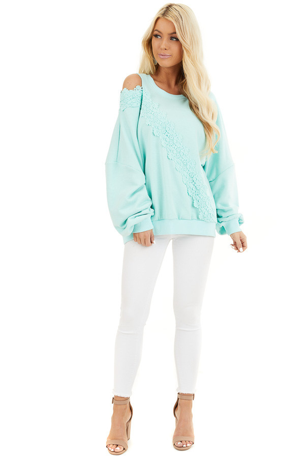 Turquoise Cold Shoulder Knit Top with Lace Crochet Details front full body