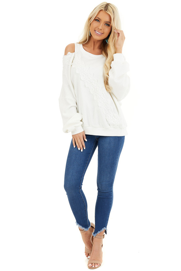 Pearl White Cold Shoulder Knit Top with Lace Crochet Details front full body