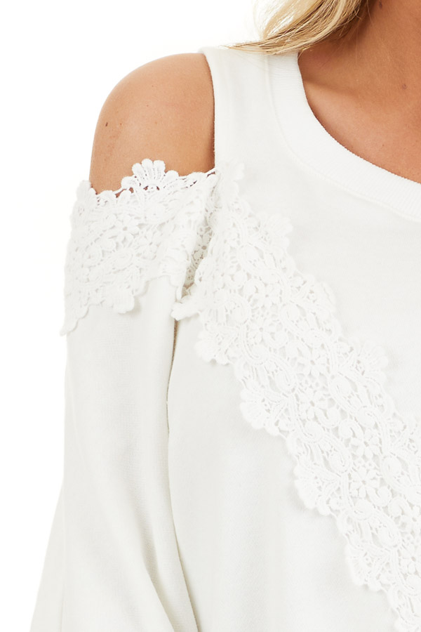 Pearl White Cold Shoulder Knit Top with Lace Crochet Details detail