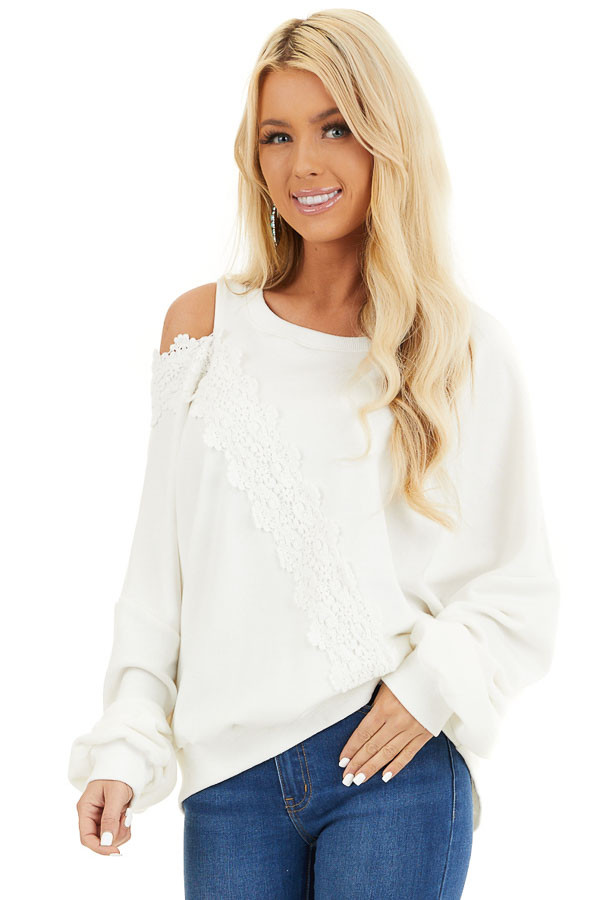Pearl White Cold Shoulder Knit Top with Lace Crochet Details front close up