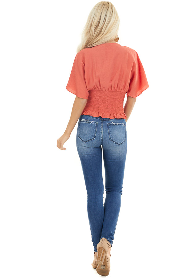 Terracotta Smocked Crop Top with Short Sleeves and Front Tie back full body
