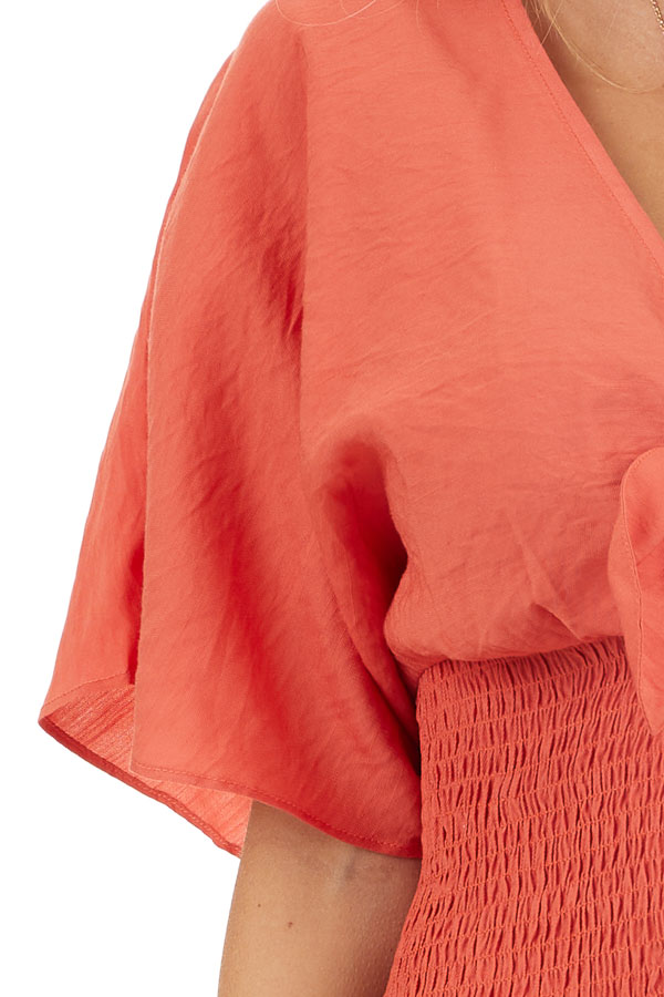 Terracotta Smocked Crop Top with Short Sleeves and Front Tie detail